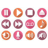 Player buttons icons. Vector kit Stock Photo
