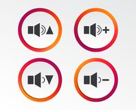 Player control icons. Sound louder and quieter. Player control icons. Sound louder and quieter signs. Dynamic symbol. Infographic design buttons. Circle Royalty Free Stock Photos