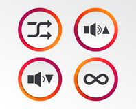 Player control icons. Sound louder and quieter. Player control icons. Sound louder and quieter signs. Dynamic symbol. Shuffle random and repeat loop Royalty Free Stock Photography