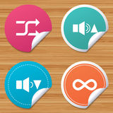 Player control icons. Sound louder and quieter. Round stickers or website banners. Player control icons. Sound louder and quieter signs. Dynamic symbol. Shuffle Stock Photography