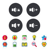 Player control icons. Sound louder and quieter. Player control icons. Sound louder and quieter signs. Dynamic symbol. Calendar, Information and Download signs Royalty Free Stock Image
