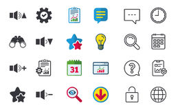Player control icons. Sound louder and quieter. Player control icons. Sound louder and quieter signs. Dynamic symbol. Chat, Report and Calendar signs. Stars Stock Photo