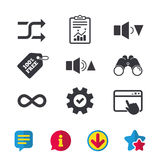 Player control icons. Sound louder and quieter. Player control icons. Sound louder and quieter signs. Dynamic symbol. Shuffle random and repeat loop. Browser Stock Photo