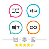 Player control icons. Sound louder and quieter. Player control icons. Sound louder and quieter signs. Dynamic symbol. Shuffle random and repeat loop. Calendar Royalty Free Stock Photos