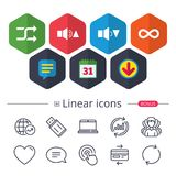 Player control icons. Sound louder and quieter. Player control icons. Sound louder and quieter signs. Dynamic symbol. Shuffle random and repeat loop. Chat Royalty Free Stock Images