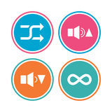 Player control icons. Sound louder and quieter. Player control icons. Sound louder and quieter signs. Dynamic symbol. Shuffle random and repeat loop. Colored Stock Photography