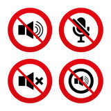 Player control icons. Sound, microphone and mute Royalty Free Stock Photos