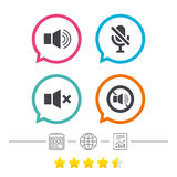 Player control icons. Sound, microphone and mute. Royalty Free Stock Photo