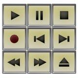 Player controls set. Ivory retro player controls set Royalty Free Stock Photos