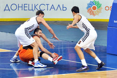 The player does not let the opponent take the ball Stock Photo