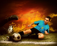 Player in fire Royalty Free Stock Photo