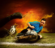 Player in fire Stock Photo