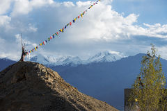 Player flag on the top of Namgyal Tsemo Monastery Stock Images