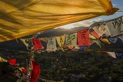 Player flag on the top of Namgyal Tsemo Monastery Stock Photos