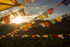 Player flag on the top of Namgyal Tsemo Monastery Royalty Free Stock Image