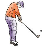 Player golf. A sketch of player golf while shoots the ball in hole, this illustration could be used for golf magazine as background or as a concept of sport Royalty Free Stock Image