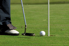 Player, golf club and ball Royalty Free Stock Photos