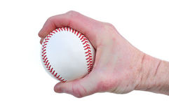 Player Gripping a New Baseball. L Isolated on White Royalty Free Stock Photos