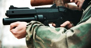 Player with gun during LaserTag stock footage