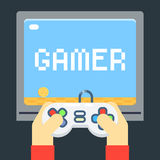 Player Hands Games Joystick TV Monitor Screen Template Flat Icon Vector Illustration Royalty Free Stock Image