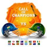 Player helmet on cricket background. Llustration of Player helmet on cricket background and VS versus text Royalty Free Stock Photos