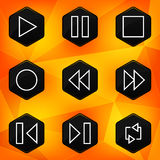 Player. Hexagonal icons set on abstract orange bac Royalty Free Stock Photo