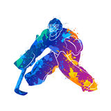 Player hockey goalie. Abstract hockey goalkeeper from splash of watercolors. Vector illustration of paints Royalty Free Stock Photo