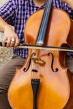 Bow on a Bass. A Player Holding a Bass on an Upright Bass Royalty Free Stock Image