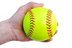Player Holding a Yellow Softball Stock Image
