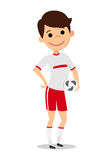 The player holds the ball. Man in football uniform. On white background. Vector illustration vector illustration