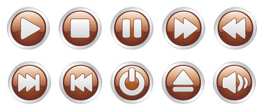 Player icons buttons (). Nice  illustration of different player icons Royalty Free Stock Photos