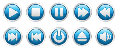 Player icons buttons (). Nice  illustration of different player icons Royalty Free Stock Image