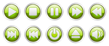 Player icons buttons (). Nice  illustration of different player icons Stock Image