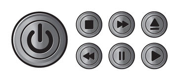 Player icons metall buttons vector Royalty Free Stock Image