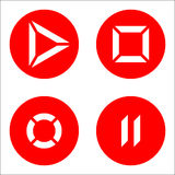Player icons red. Player icons on round red flat buttons - isolated stock vector illustration Stock Image