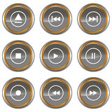 Player icons set Royalty Free Stock Photo