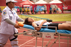 Player injured in Thailand Open Athletic Championship 2013. Royalty Free Stock Photo