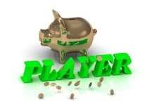PLAYER- inscription of green letters and gold Piggy Royalty Free Stock Image