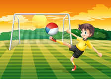 Player kicking the ball with Czech Republig flag Stock Photo