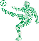 Player kicking soccer ball. Outline of a player kicking a soccer ball or football, artistically created by a mosaic of sports icons Royalty Free Stock Image