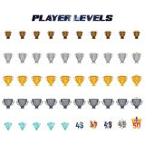 Player Levels 1 -50. Player Levels from 1 to 50 useful in the gaming industry Stock Photography