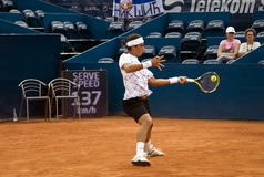 Player Lopez return a ball Stock Photography