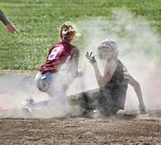 Player makes gesture of disagreement at umpire`s call stock photography