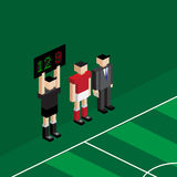 Player and manager wait for changing substitution. Player Royalty Free Stock Photos
