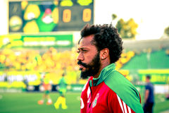 Player of the Manuel Enrique Tavaresh Fernandesh Locomotive. Manuel Enrique Tavaresh Fernandesh (Locomotive) before a match against Kuban royalty free stock photo