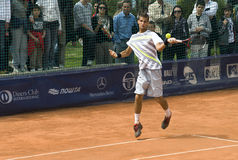 Player Martin Klizan return a ball Royalty Free Stock Photos