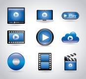 Player movie icons Stock Photos