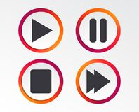 Player navigation icons. Play, stop and pause. Player navigation icons. Play, stop and pause signs. Next song symbol. Infographic design buttons. Circle Royalty Free Stock Photos