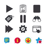 Player navigation icons. Play, stop and pause. Royalty Free Stock Image