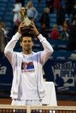 Player Novak Djokovic with championship trophy Stock Photos